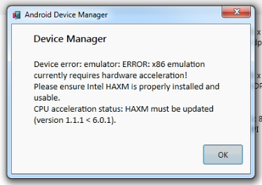 Xybernetics Android Device Manager - x86 Emulation Currently Requires Hardware Acceleration