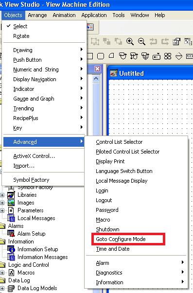 Xybernetics FactoryTalk View ME - Configuration Mode Using Graphic Button