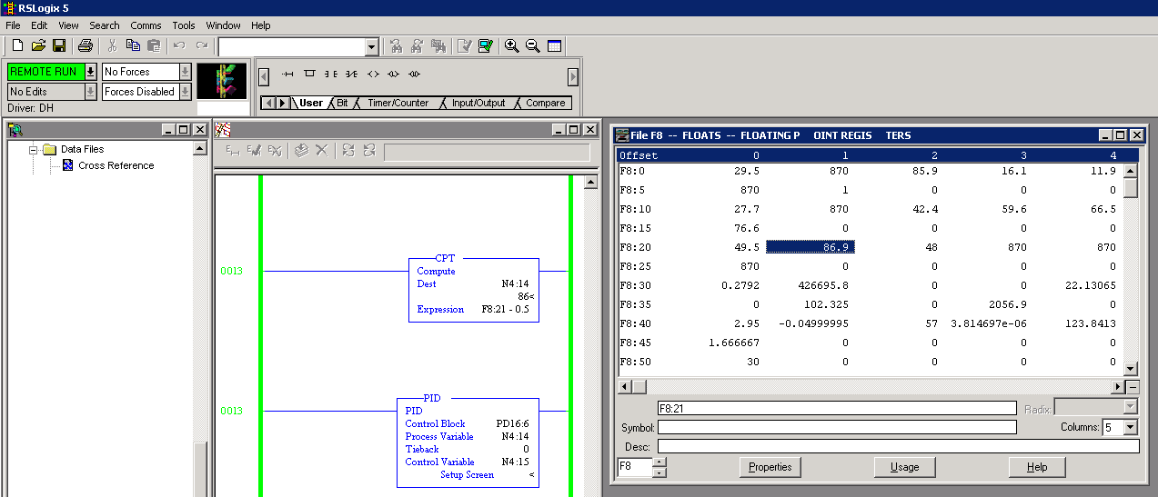 Xybernetics RSLogix 5 : Converting Data Type Floating To Integer