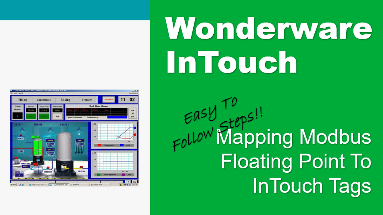 Map Modbus Floating Point To Wonderware InTouch Tag