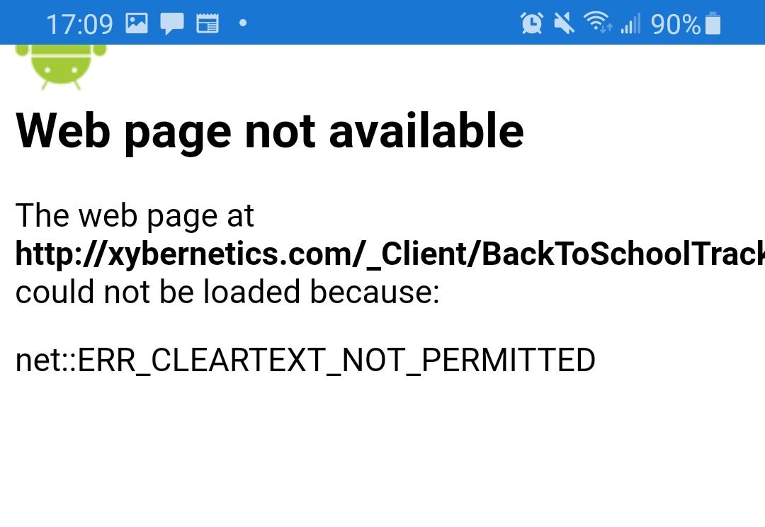 Xybernetics Xamarin Error Message ERR_CLEARTEXT_NOT_PERMITTED Error