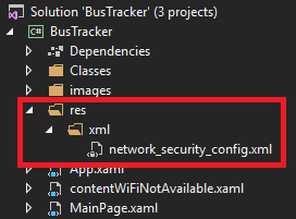 Xybernetics XamarinAdd network_security_config File ERR_CLEARTEXT_NOT_PERMITTED Error